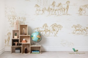 Fototapeta Rebel Walls R15592 Horse Herd Gold