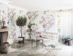 Mural Magnolia & Blossom Sanderson 216305 Panel A Waterperry