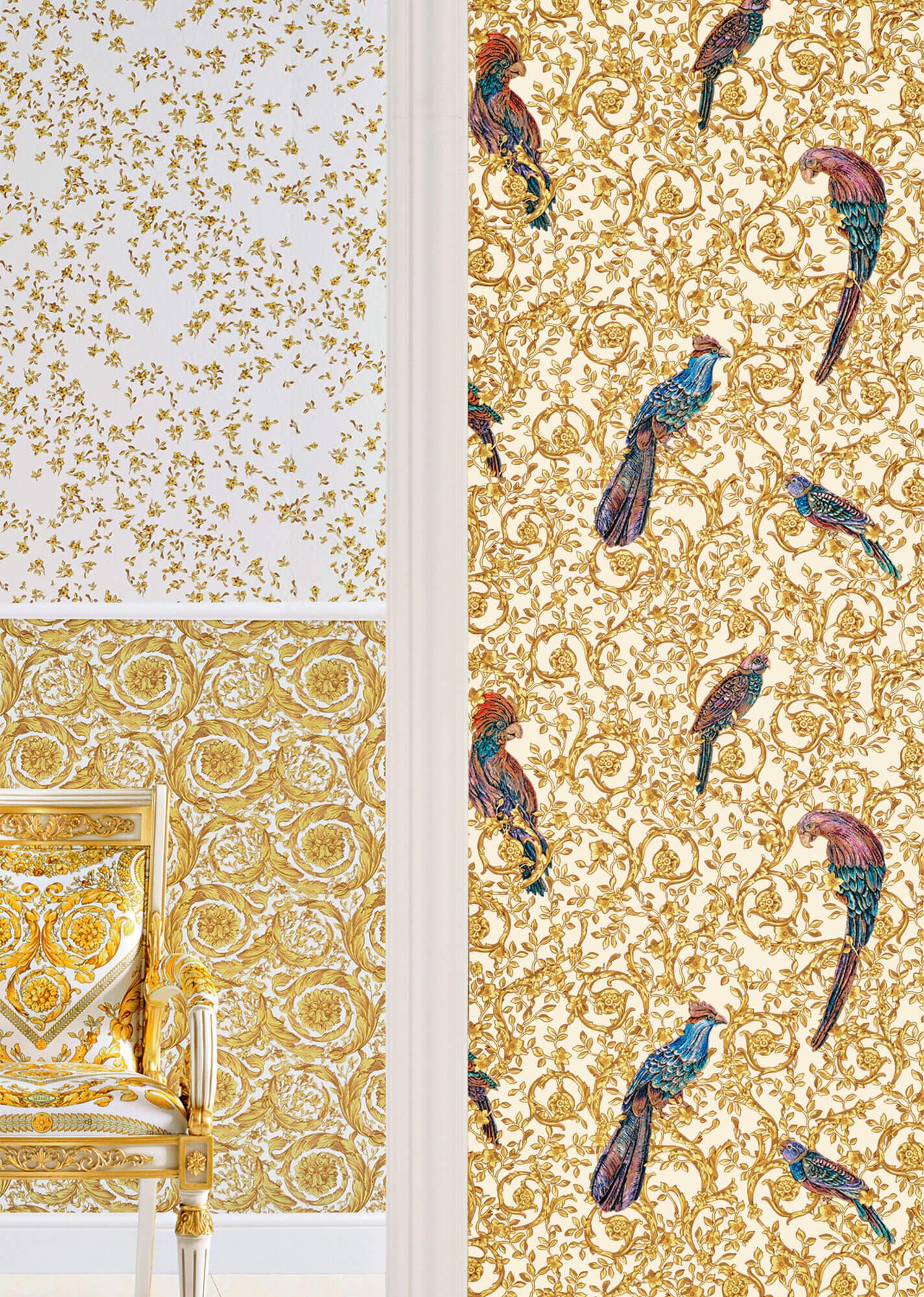 Tapeta z papugami do luksusowych wnętrz 37053-2 Versace IV