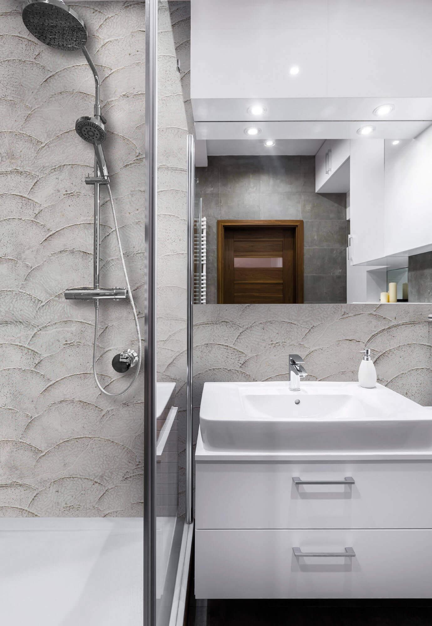 Tapeta pod prysznic imitująca beton Tecnografica 59135 Grey Sea
