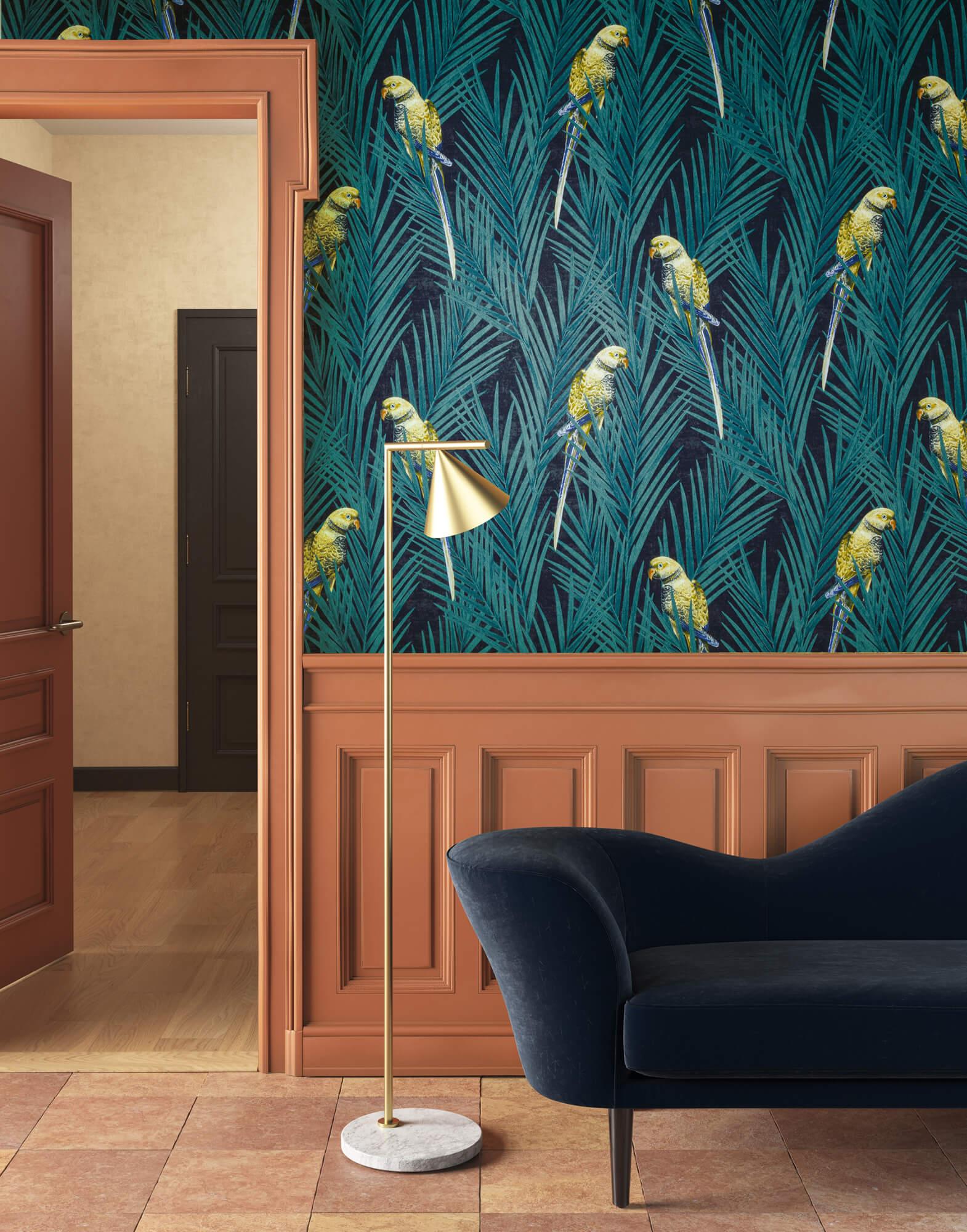 Tapeta z papugani na tropikalnych liściach palm CAB703 Eden Cabinet of Curiosities