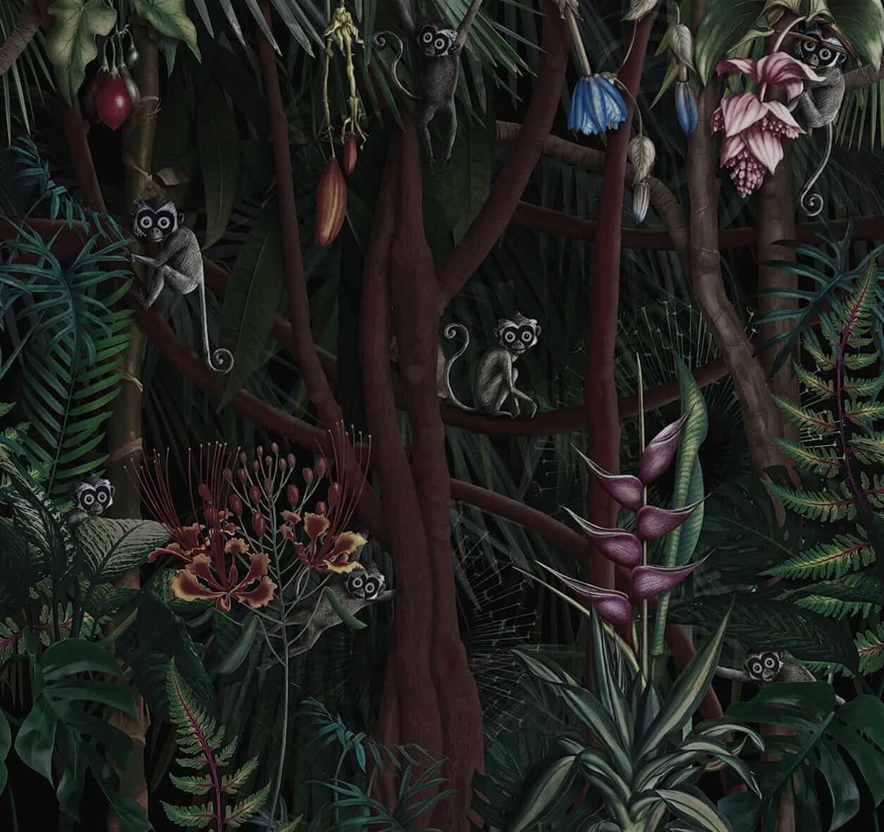 Tapeta dżungla pod prysznic LondonArt Looks in the forest