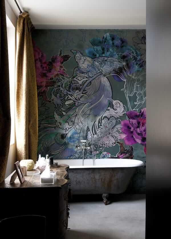 Fototapeta pod prysznic w kwiaty i ptaki WET_MD1501 Mystical dream Wall and Deco