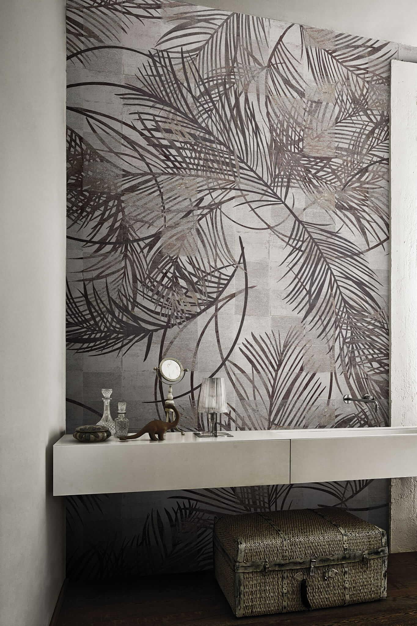 Tapeta Londonart pod prysznic w liście palm