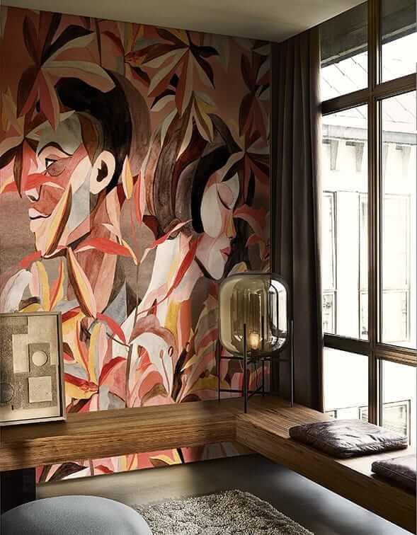 Modna Tapeta w twarze pod prysznic Wall&Deco WDDL1901 DELOVE