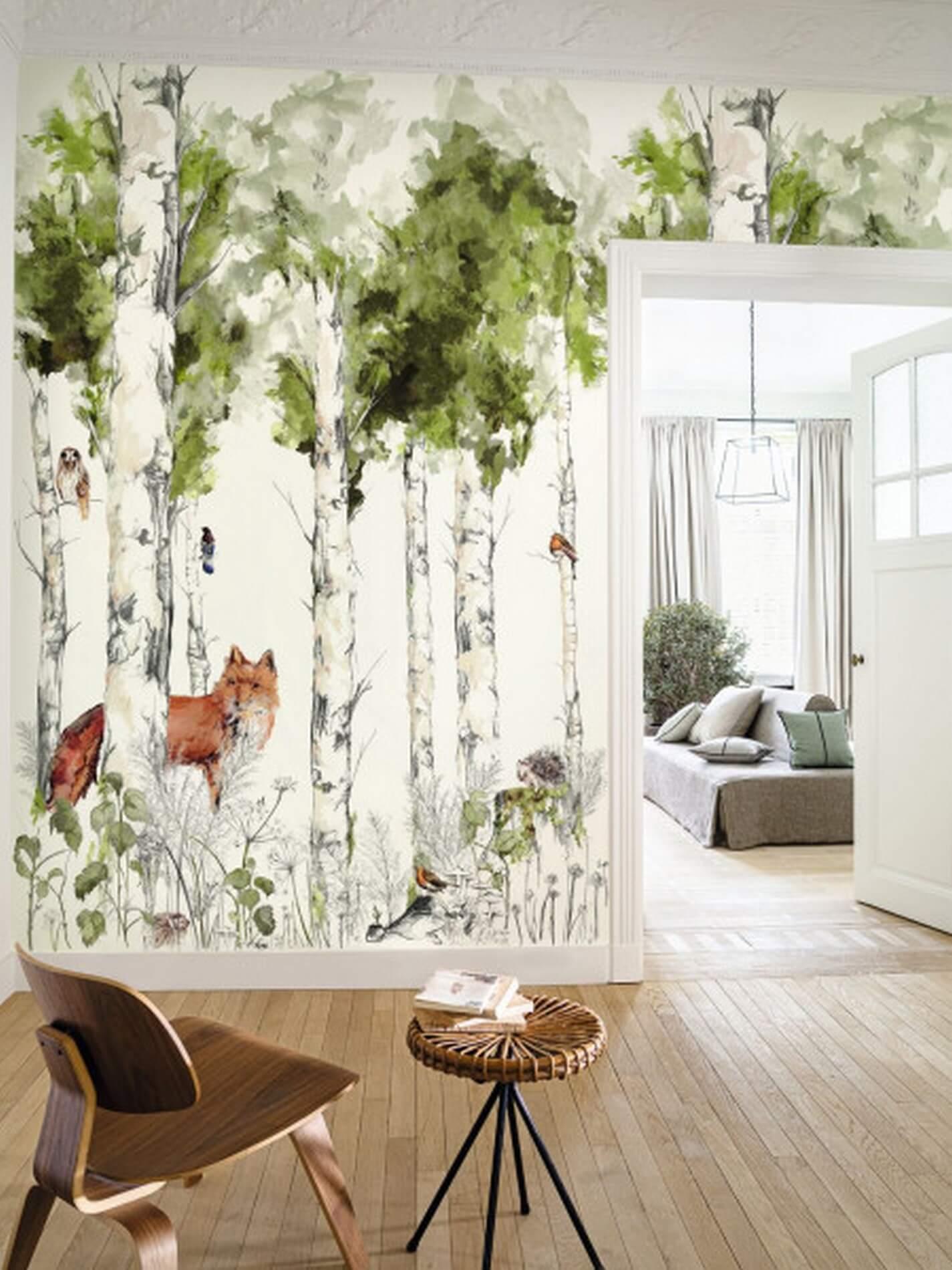 Mural brzozowy las aranżacja w skandynawskim stylu do pokoju malucha Casamance 74941324 SYLVANIA Panoramas