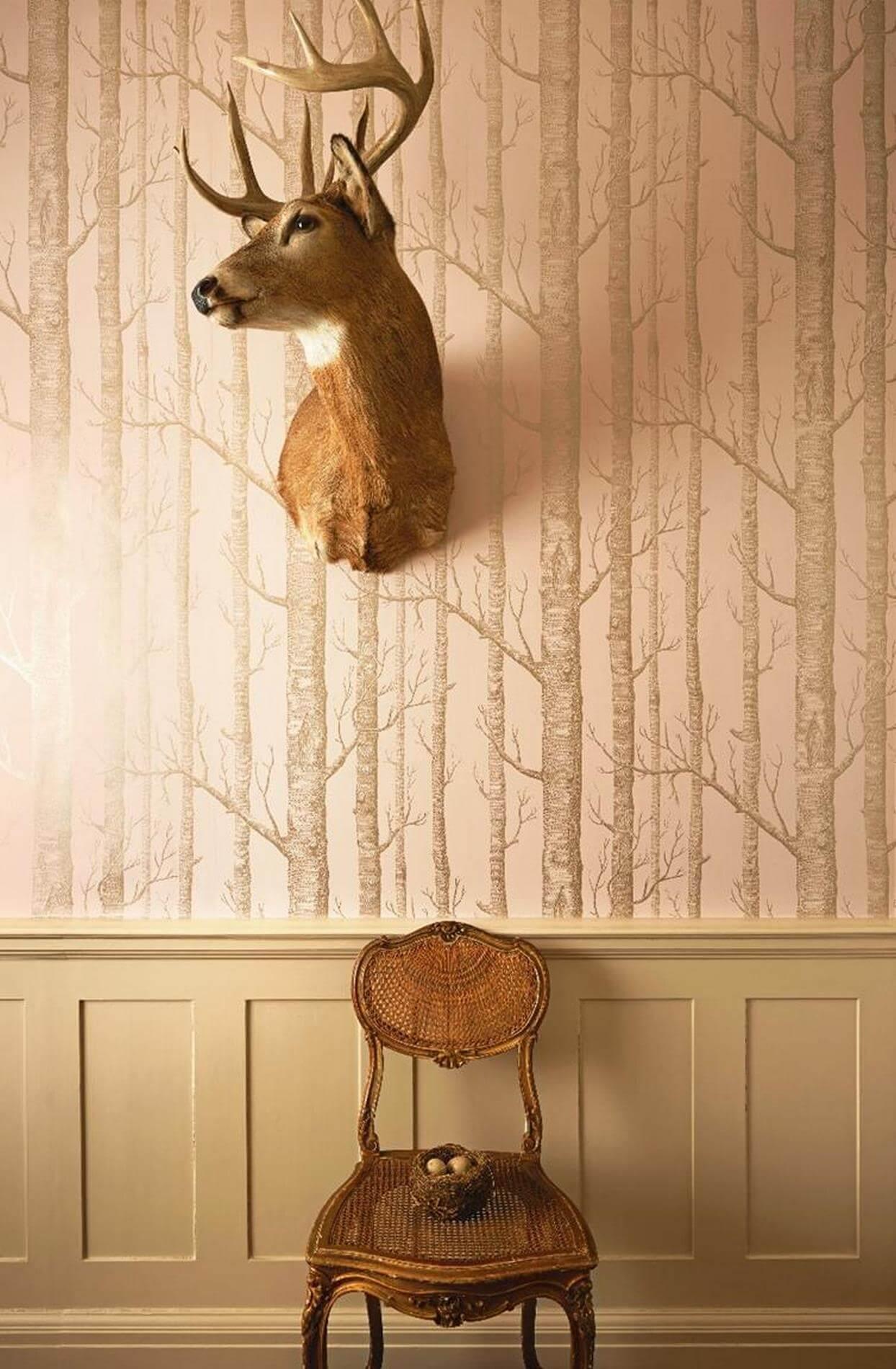 tapeta w drzewa do skandynawskich wnętrz aranżacje Cole & Son 103/5024 Woods Whimsical