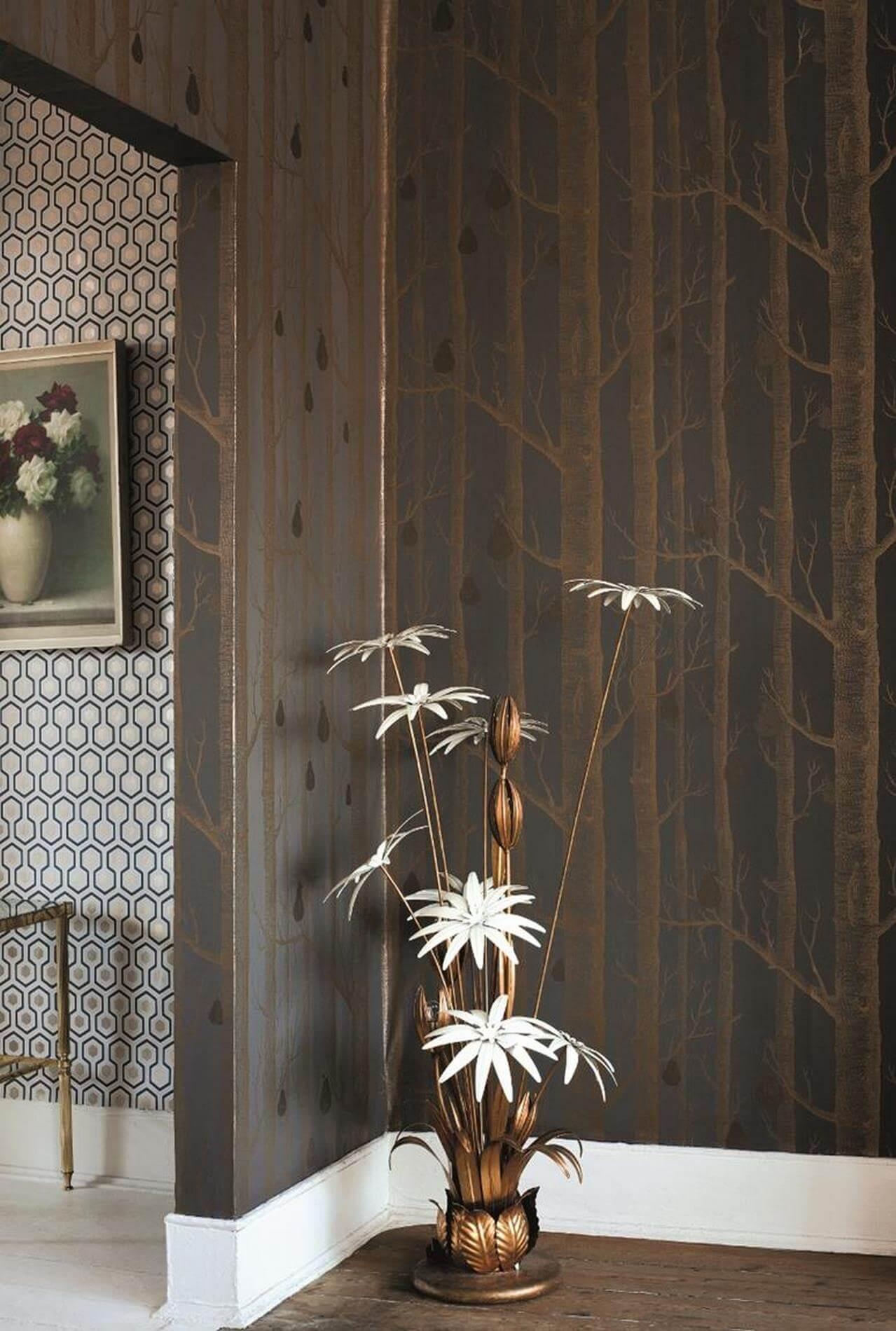 Błyszcząca tapeta w drzewa i gruszki Cole&Son Woods & Pears 95/5028 The Conptemporary Collection