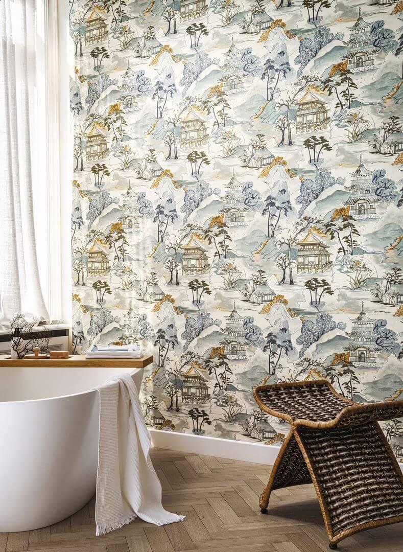 Tapeta do łazienki w stylu japońskim Casamance 75310202 Nara Archipel