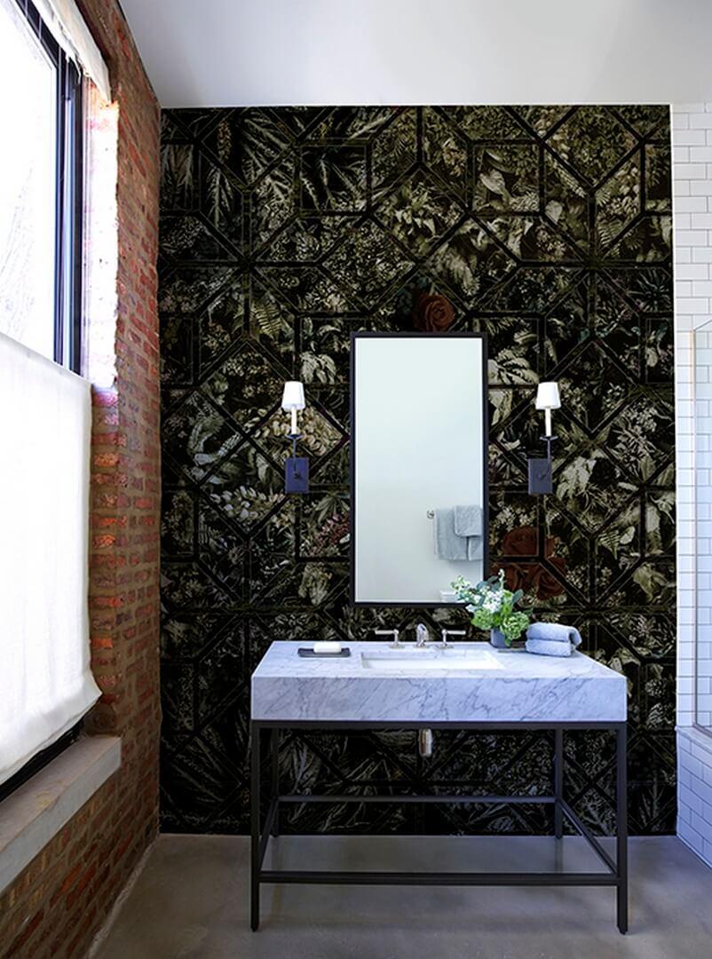 Tapeta do łazienki z roślinnym wzorem Muance geometryczna MU13052 Eldorado Amber