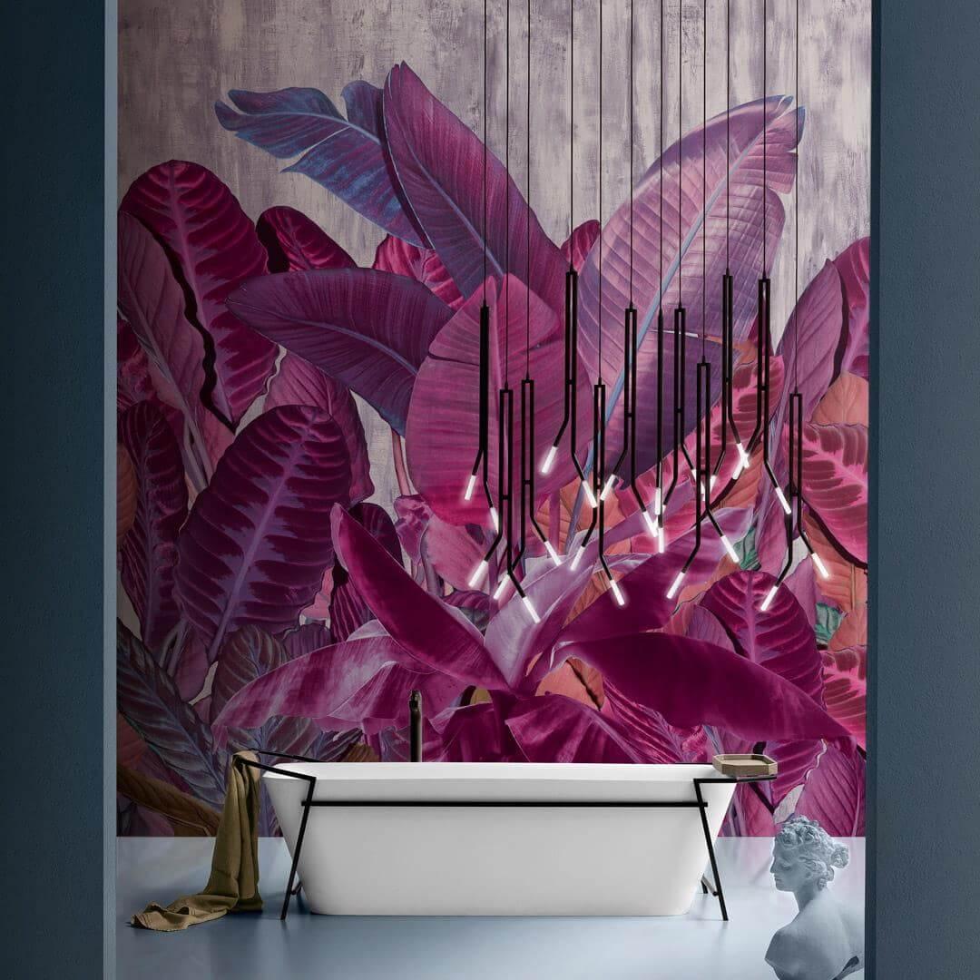 Tapeta łazienkowa w liście Inkiostro Bianco Herbage INKEQTA1902 Inediti Cruise Collection