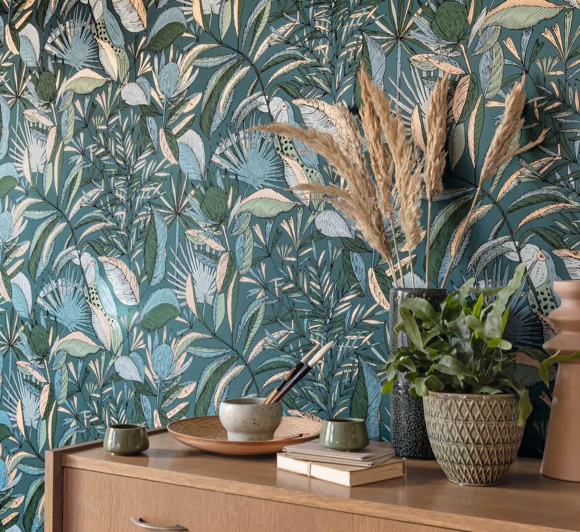 tapeta egzotyczna z roślinami i tukanem Caselio NGR103016749
