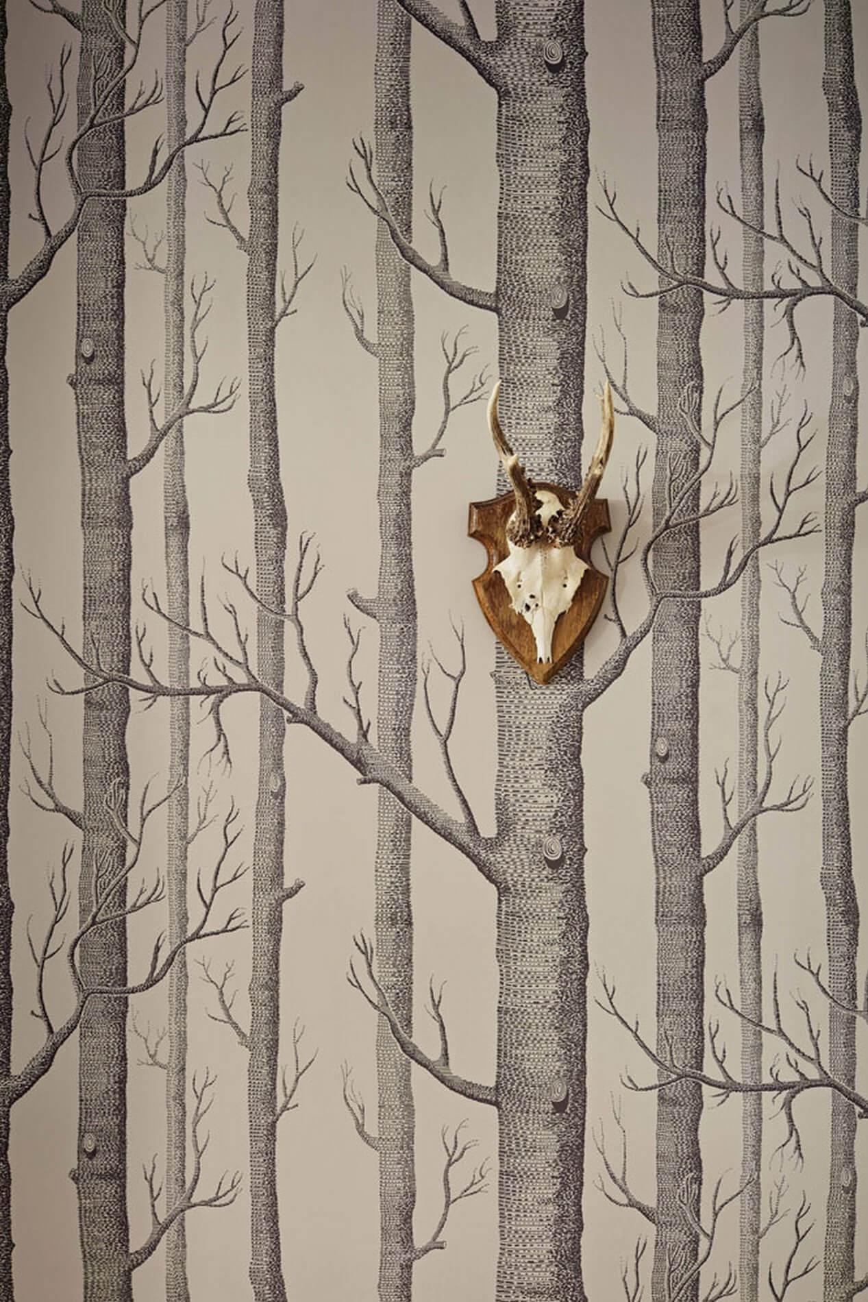 Tapeta w brzozy i gruszki aranżacje do skandynawskich wnętrz Cole & Son Icons 112/3009 Woods