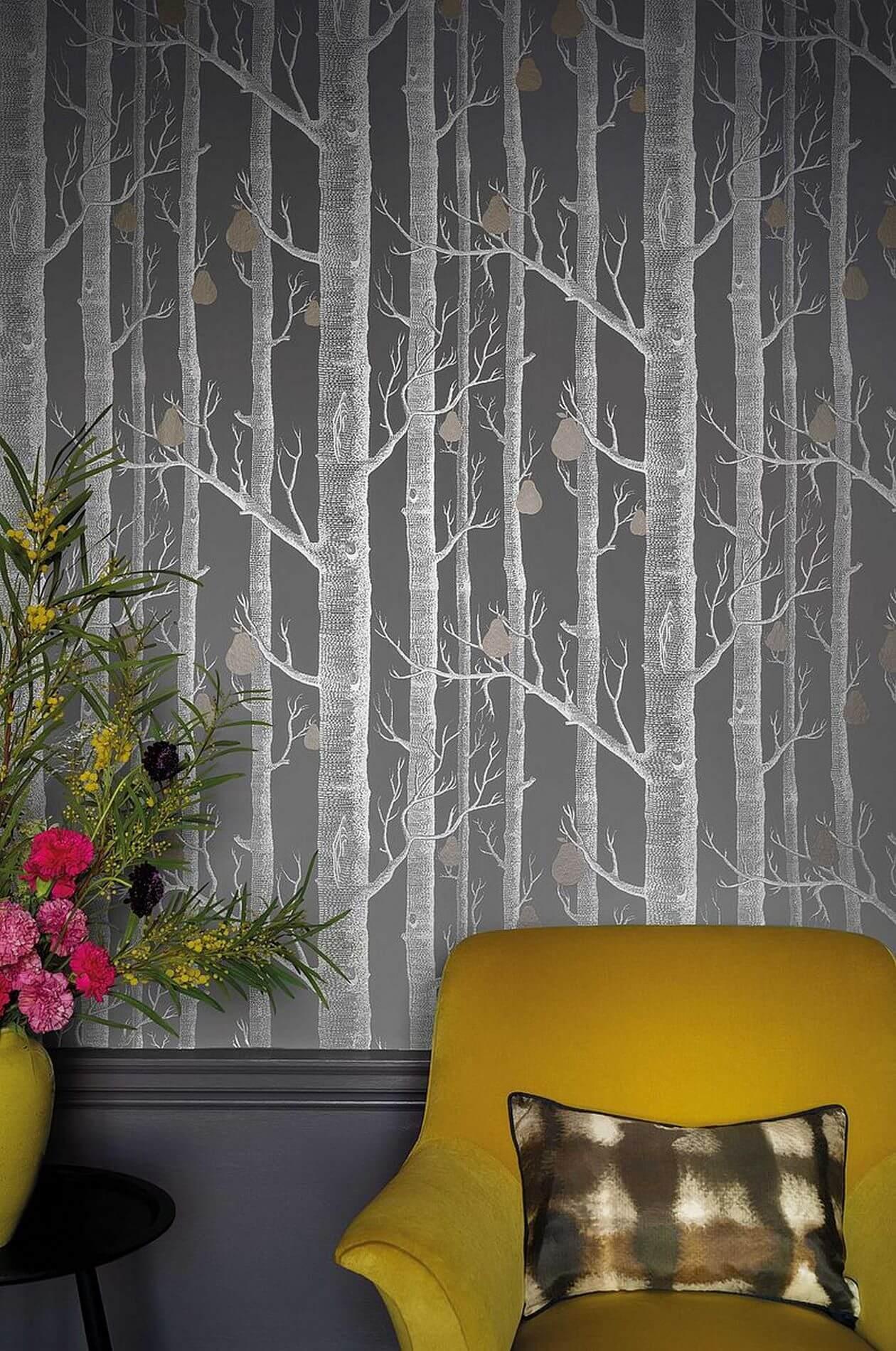 Tapeta z brzozami i gruszkami do nowoczesnych wnętrz aranżacje Cole & Son Contemporary Restyled Woods & Pears 95/5030