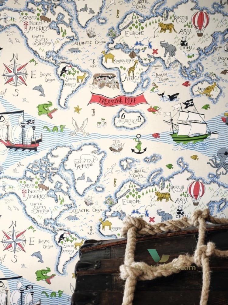 Tapeta mapa skarb w 214039 abracazoo sanderson sanderson - Habitaciones vintage juveniles ...